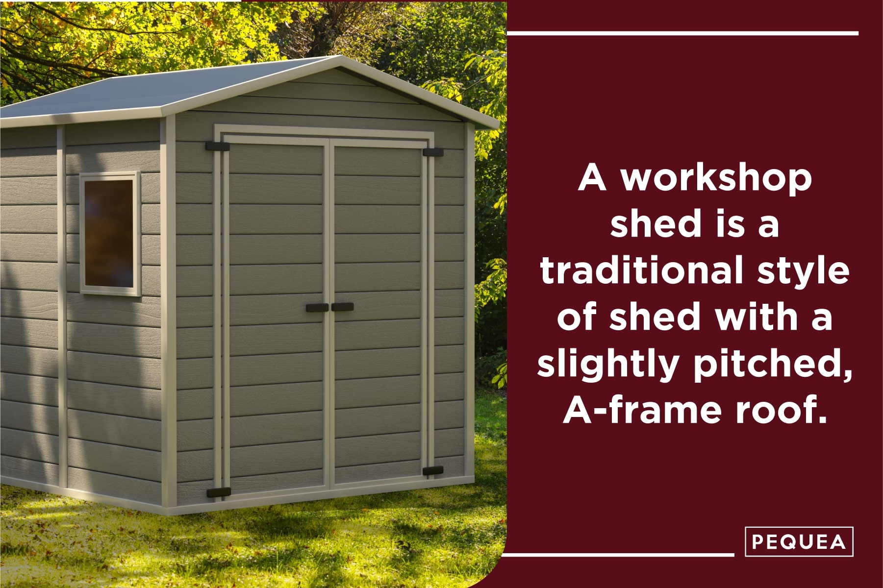 a workshop shed has a traditional a-frame roof