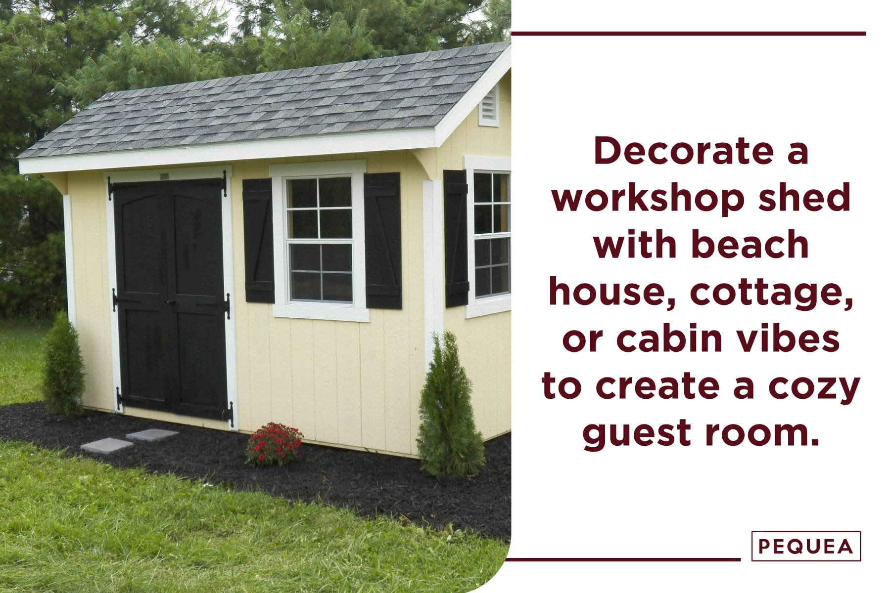 decorate a workshop shed in your style to create a guest room