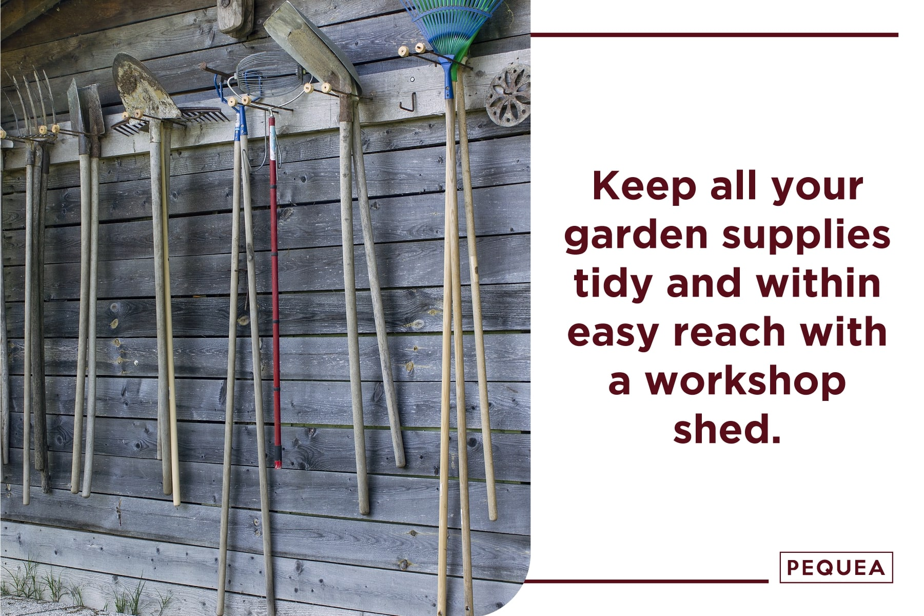 keep all your garden supplies tidy with a workshop shed